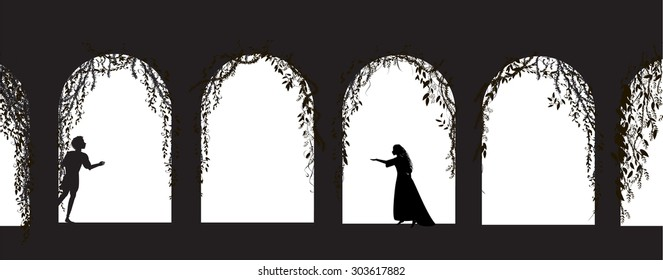 romeo and juliet shakespeare`s play, date, silhouette, love story, vector