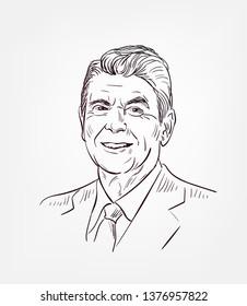 Ronald Reagan usa president vector sketch portrait