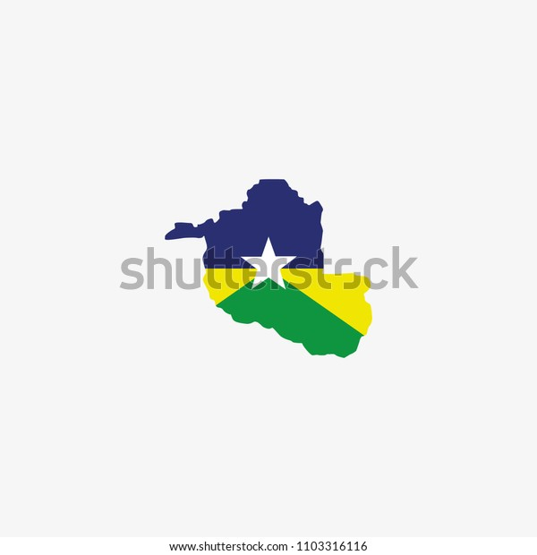Rondonia - Brazil Map and Flag of Vector Illustration