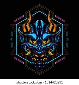 Ronin Devil Geometry Scary vector illustration art