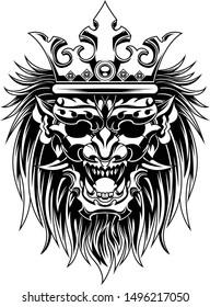 Ronin  Devil  longish mask evil vector illustration geometry black and white