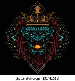 Ronin  Devil  longish mask evil vector illustration geometry