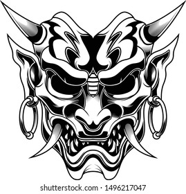 Ronin Evil Devil Samurai vector illustration for t shirt and other black and white