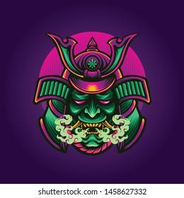 ronin head mascot logo design