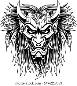 Ronin longish mask Devil evil vector illustration geometry black and white