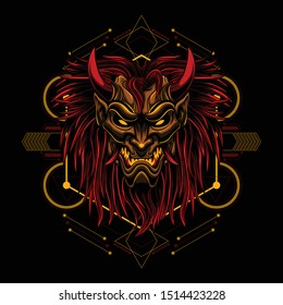 Ronin longish mask Devil evil vector illustration geometry