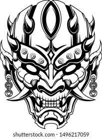 Ronin mask Devil evil vector illustration geometry black and white