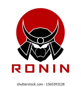 Ronin samurai circle logo design icon