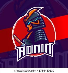 ronin samurai mascot esport logo design character