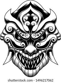 The Ronin samurai mask angry face vector illustration black and white
