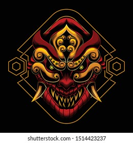 The Ronin samurai mask angry face vector illustration