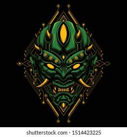 Ronin samurai mask Devil evil vector illustration geometry