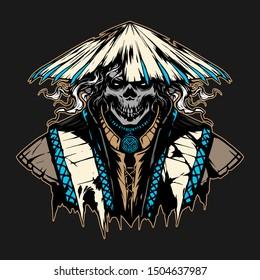 ronin skull in hat illustration