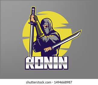 ronin Sport and esport logo design, vector eps10, download and rename with your team