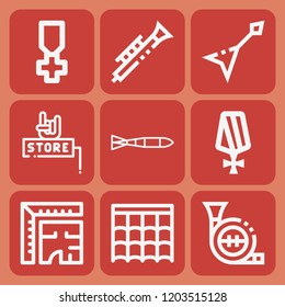 Roof, architecture, submarine torpedo, medal, music store, clarinet, electric guitar icon set suitable for info graphics, websites and print media and interfaces