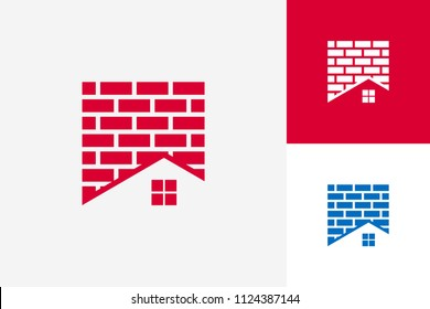 Roof And Brick Logo Template Design Vector, Emblem, Design Concept, Creative Symbol, Icon