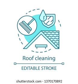 Roof cleaning concept icon. Additional cleanup service idea thin line illustration. Chimney sweep. House maintenance. Tile washing. Cleaning agency. Vector isolated outline drawing. Editable stroke