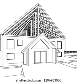 roof construction, 3d illustration