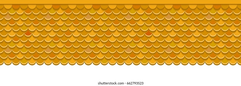 Roof covered with red clay tiles. Vector background