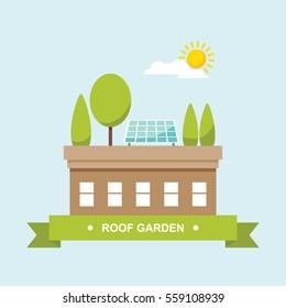 Roof garden with solar panel flat vector illustration