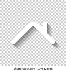 Roof of house. Simple linear icon. One line style. White icon with shadow on transparent background