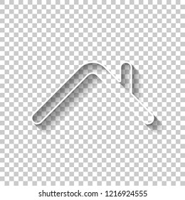 Roof of house. Simple linear icon. One line style. White outline sign with shadow on transparent background