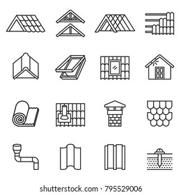 Roof, housetop construction materials, waterproofing icon set. Thin Line Style stock vector.