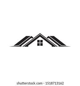 Roof line, real estate logo design template vector illustration