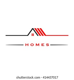 roof logo template. home icon.