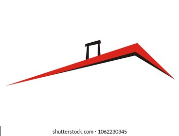 roof with smokestack, vector icon, red and black sketch