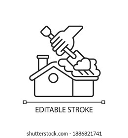 Roof snow removal linear icon. Cleaning your house in winter. Dangerous seasonal service. Thin line customizable illustration. Contour symbol. Vector isolated outline drawing. Editable stroke