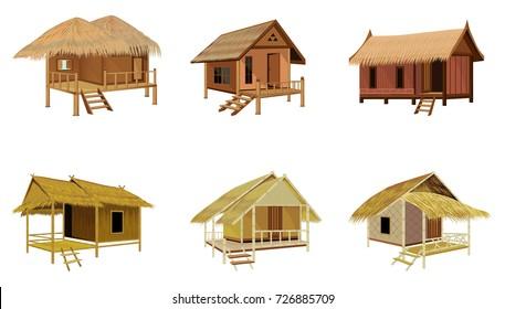 roof straw hut vector design