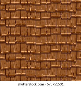 Roof Texture. Cartoon brown old roofing Tiles Seamless Background, collection texture