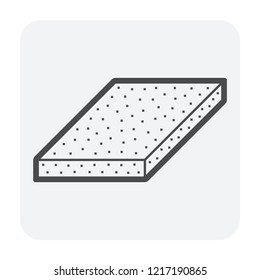 Roof tile and insulation icon design, black color.