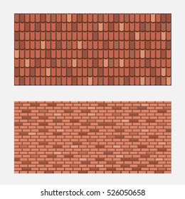 Roof Tiles Brick Wall Texture Vector Stock Vector Royalty Free 526050658