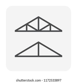 Roof truss icon design, black color.