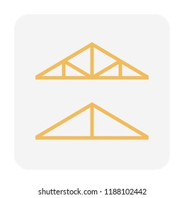 Roof truss icon design, editable stroke.