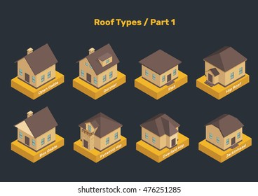 Roof Types vector set. Colored isolated illustrations of isometric houses. The modern types of roofs with captions. Part 1.