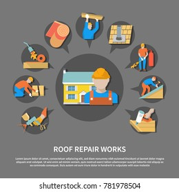 Roofer flat flyer with roof repair works description and colored colored icon set vector illustration