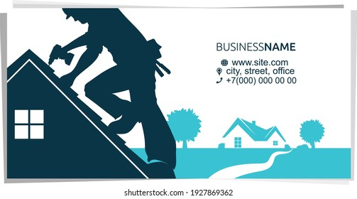 Roofer in helmet with tool on the roof of house business card