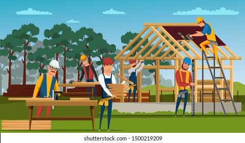 Roofing construction flat vector illustration. House building site, home walls and roof structure. Roofers, carpenters cutting wood male cartoon characters. Professional builders working drawing
