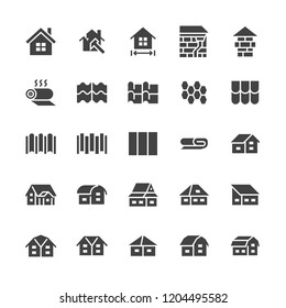 Roofing flat glyph icons. House construction, roof sheathing varieties, tile, chimney, insulation architecture illustrations. Signs for repair service. Solid silhouette pixel perfect 48x48.