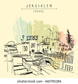 Roofs of Jerusalem above Arabic market, Israel. Jewish quoter. Hand drawing. Travel sketch. Vintage touristic postcard, poster, greeting card. Vector illustration