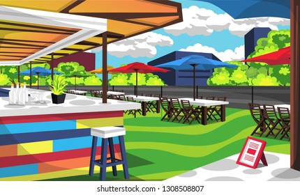 Rooftop Cafe Outdoor With Big Table And Chair With Umbrella Cafe Tent, Bars Order, Foods, Bottles For Vector Illustration Restaurant Outdoor Ideas