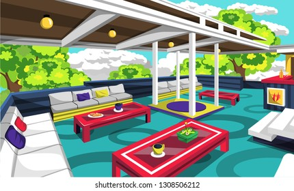 Rooftop Cafe Outdoor With Cozy Sofa, Red Table, Yellow Lamps, Chair And Bars For Vector Illustration Restaurant Outdoor Ideas