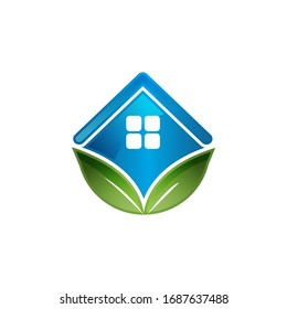 rooftop and leaf the symbol green building logo vector illustrations