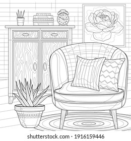 A room with an armchair and a chest of drawers.Coloring book antistress for children and adults. Zen-tangle style.Black and white drawing.Hand draw - Shutterstock ID 1916159446