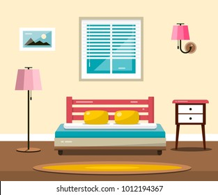 Room with Bed. Vector Flat Design Interior Illustration.