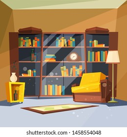 Room with books. House apartment with home library shelves inside of living room for reading vector picture. Illustration of bookshelf and armchair, interior library