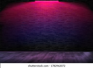 A room with a brick wall on which neon shines. Horizontal background. Pink neon. Vector illustration